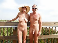 Mature naturists on nudist beach